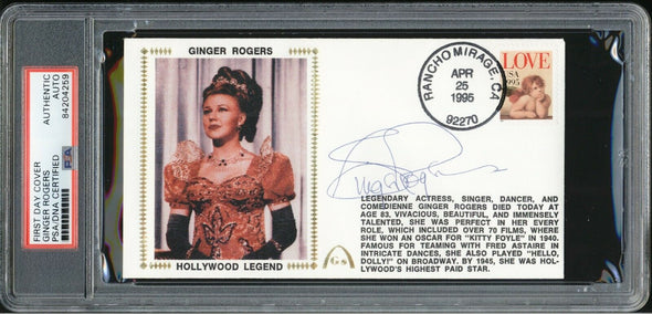 Ginger Rogers Actress Signed FDC PSA/DNA Auto Hollywood Legend 1995