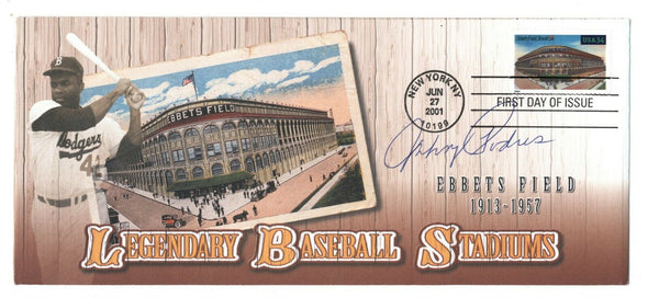 Johnny Podres Signed Ebbets Field First Day Issue BAS Beckett