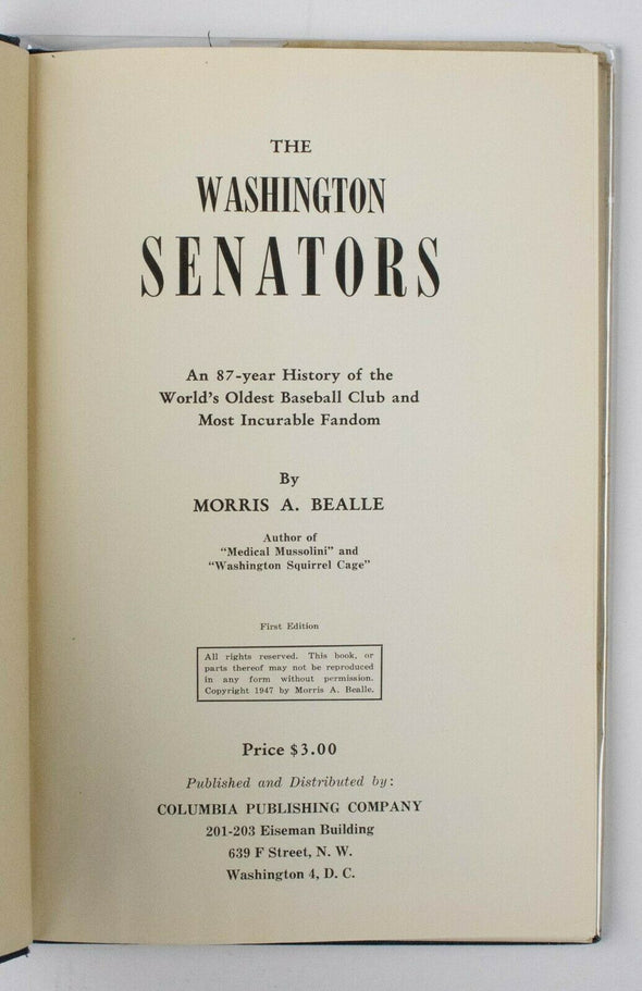 The Washington Senators Story Incurable Fandom HC Book Signed By Morris A Bealle