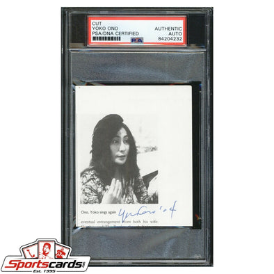 Yoko Ono Signed Cut Page Card PSA/DNA Auto The Beatles John Lennon