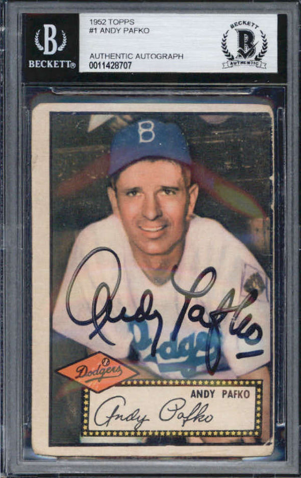 Andy Pafko Brooklyn Dodgers 1952 Topps Signed Auto Card BAS