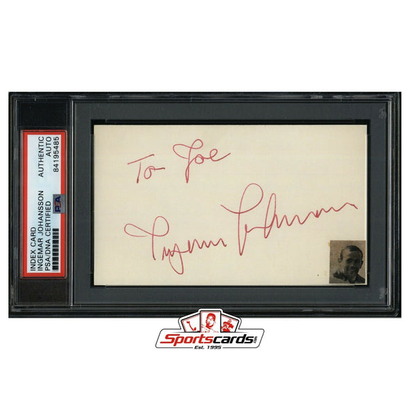 Ingemar Johansson Signed 3x5 Index Card Boxing Champion D.2009  PSA/DNA