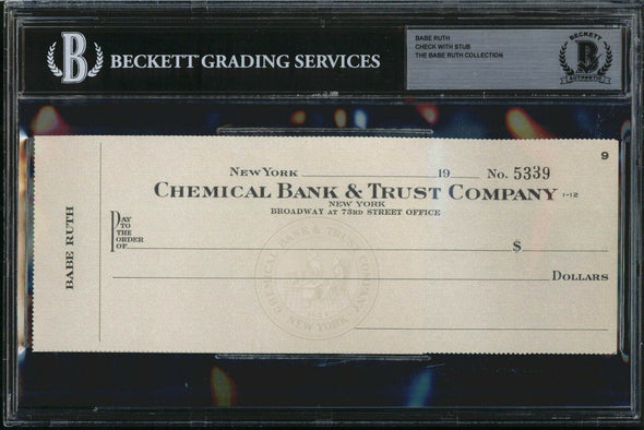 *SCARCE* BABE RUTH BLANK PERSONAL CHECK & STUB #5339 BABE RUTH COLLECTION BAS