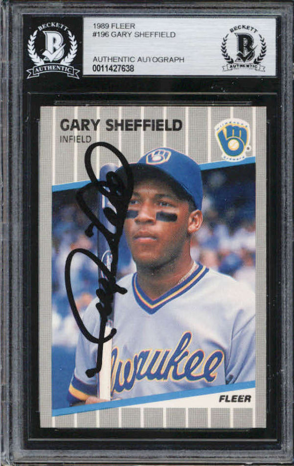 Gary Sheffield Milwaukee Brewers 1989 Fleer Signed Auto Card BAS