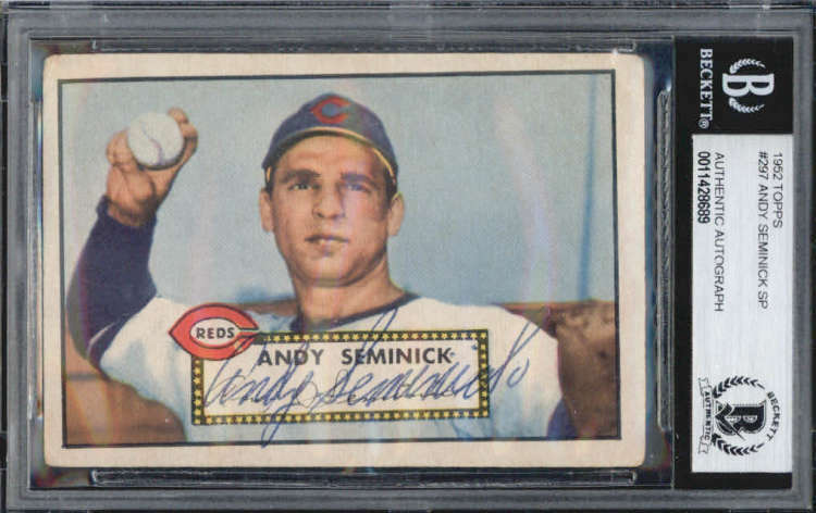 Andy Seminick Cincinnati Reds 1952 Topps Signed Auto Card BAS