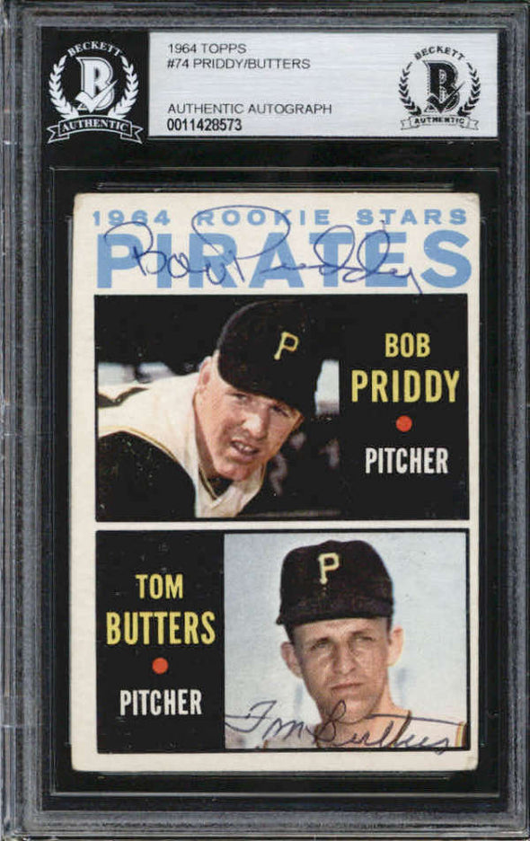 Bob Priddy   Tom Butters Pittsburgh Pirates 1964 Topps Signed Auto Card BAS