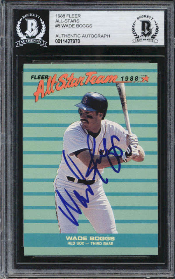 Wade Boggs Boston Red Sox 1988 Fleer All-Star Signed Auto Card BAS