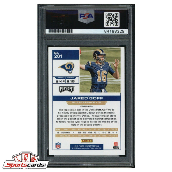 Jared Goff Signed 2016 Panini Playoff Rookie Card PSA/DNA