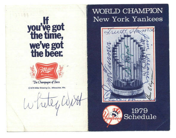 1979 New York Yankees Signed Schedule 7 Autographs World Series Champs