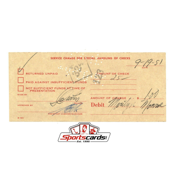 Marilyn Monroe Bank Issue Service Charge Receipt Dated 9-19-51