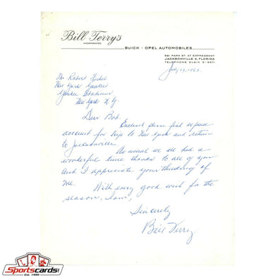 1963 Bill Terry Signed Auto Handwritten Letter to NY Yankees