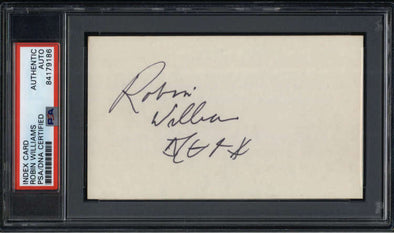 "Robin Williams D.2014 Actor / Comedian Signed 3"" x 5"" Index Card  PSA/DNA"
