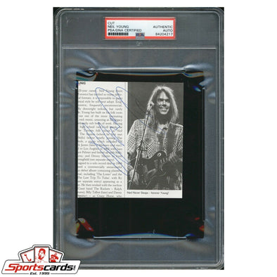 Neil Young Singer Songwriter Signed Cut Photo Page PSA/DNA Auto