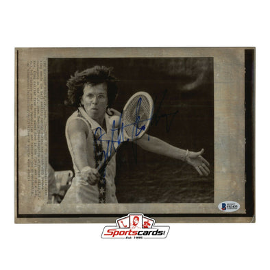 Billie Jean King Signed 8x11 Photo BAS Beckett Auto 1974 AP Wirephoto