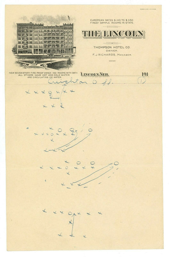 Knute Rockne Signed Handwritten Game Notes and Plays  Beckett BAS LOA - RARE!!!