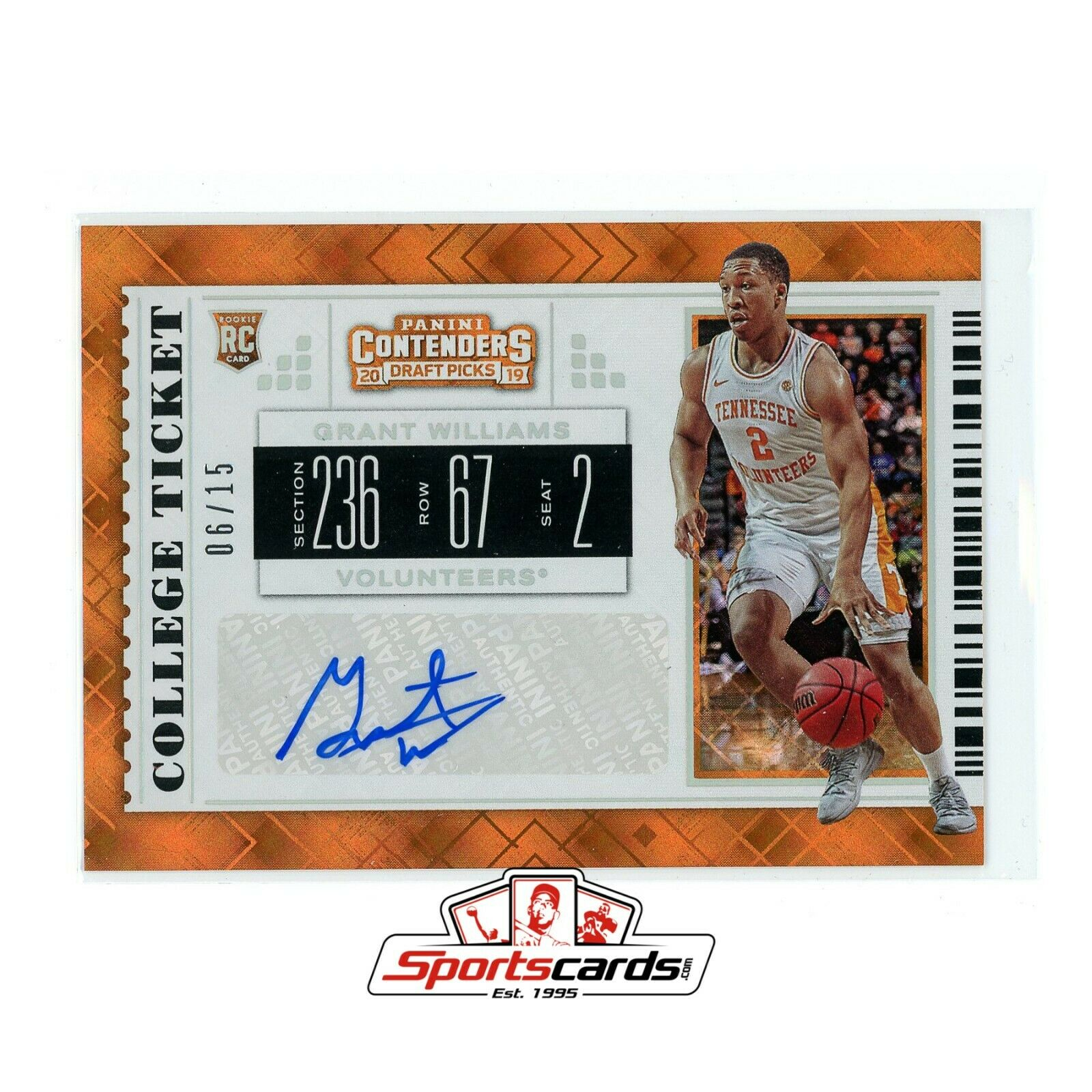 Grant Williams 2019-20 Panini Contenders Draft Picks Ticket Auto #/ 15