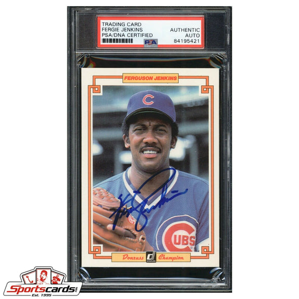Fergie Jenkins Signed Donruss Champion Oversize Trading Card PSA/DNA Cubs Auto