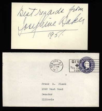 "Josephine Baker D.1975 Entertainer Civil Rights Activist Signed 3"" x 5"" Index Ca"