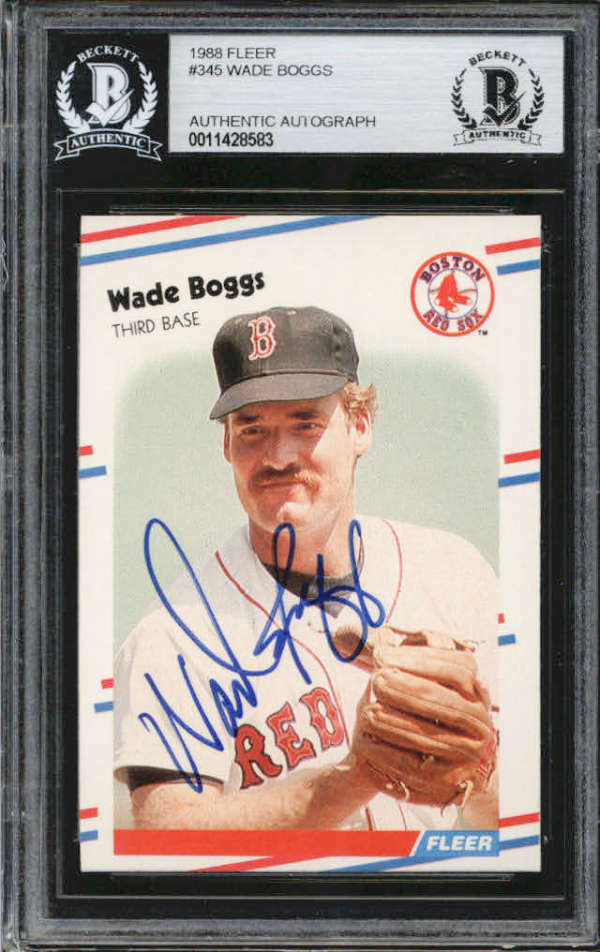 Wade Boggs Boston Red Sox 1988 Fleer Signed Auto Card BAS