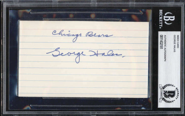 George Halas D.1983 Chicago Bears Papa Bear Signed 3x5 Index Card BAS
