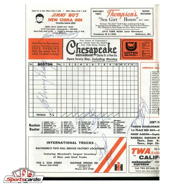 1975 Orioles vs Red Sox Signed Scorecard Program Grich Lynn Rice