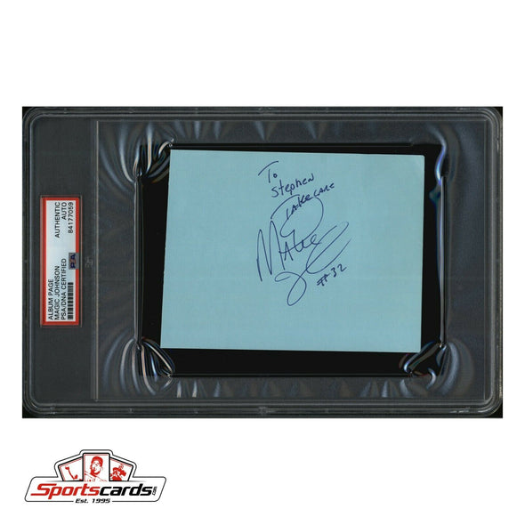 Magic Johnson Signed Album Page PSA /DNA Authentic Auto NBA