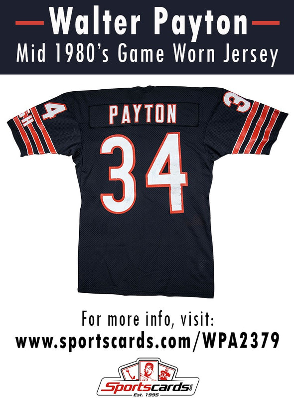 Walter Payton 1980's Chicago Bears Game Worn Jersey Mystery Swatch Box