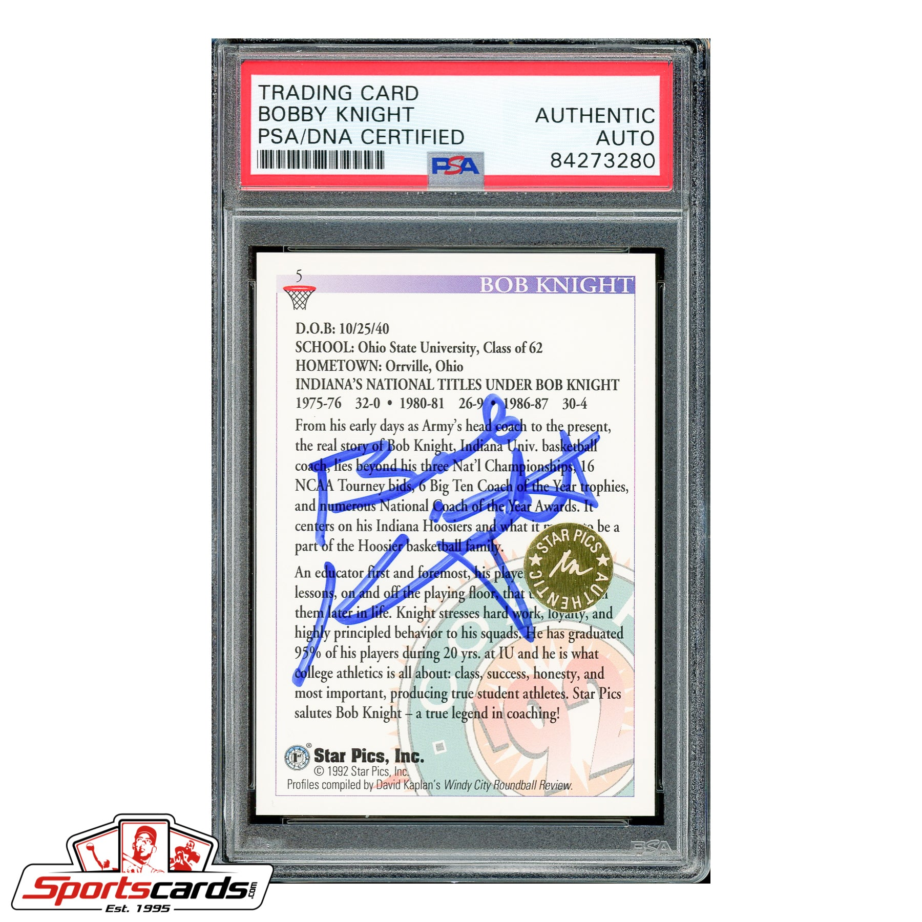 Bobby Knight Indiana University Signed Auto Star Pics Card PSA
