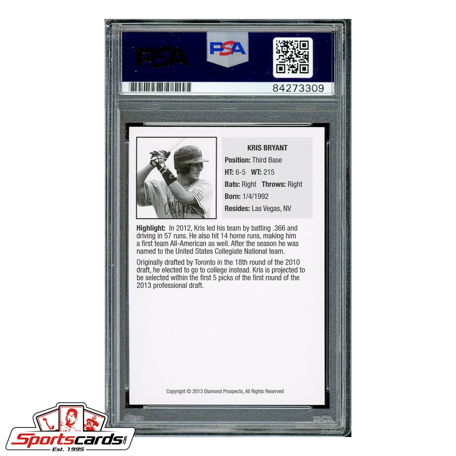 Kris Bryant Signed Auto 2013 Diamond Prospects RC PSA