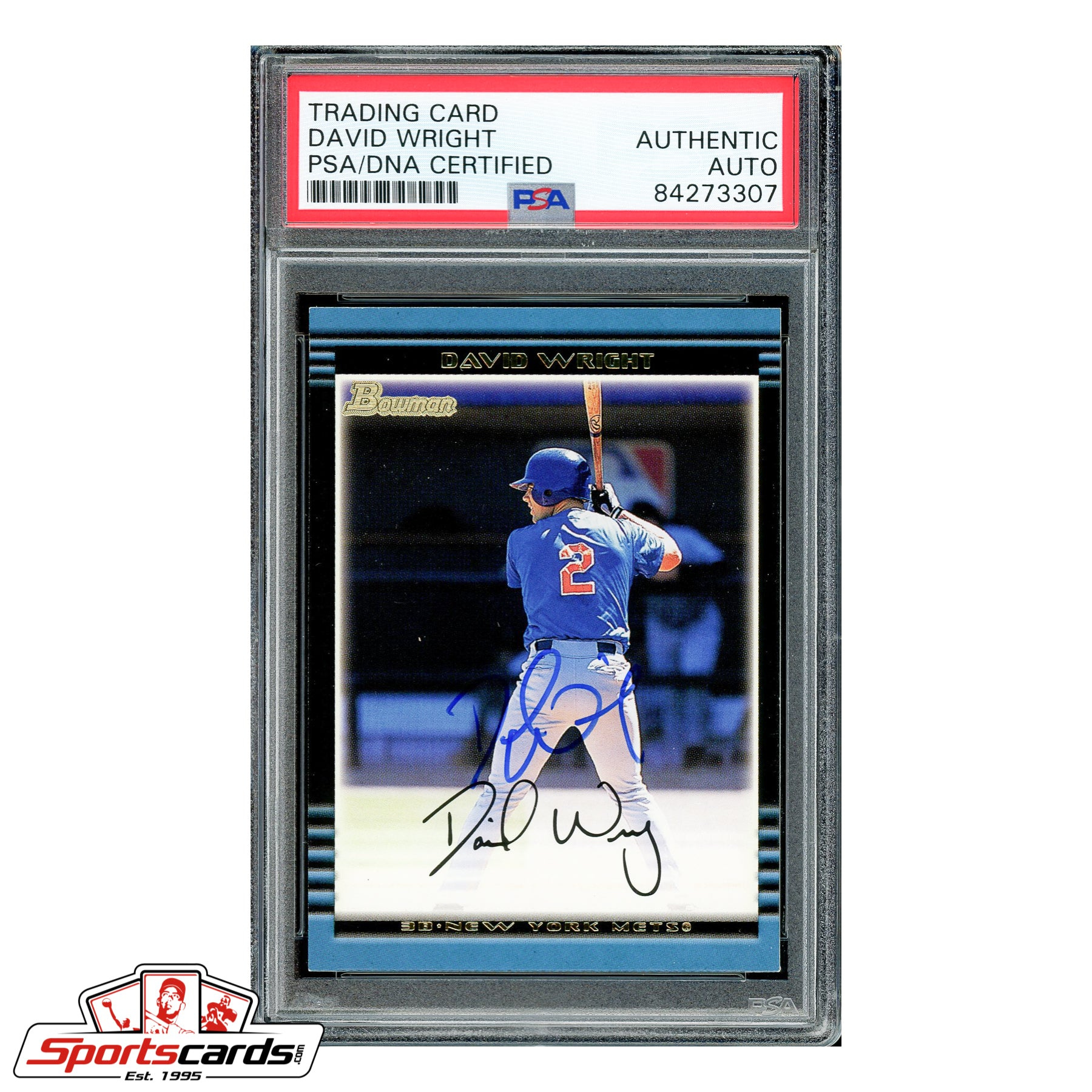 David Wright Signed Auto 2002 Bowman RC #381 PSA