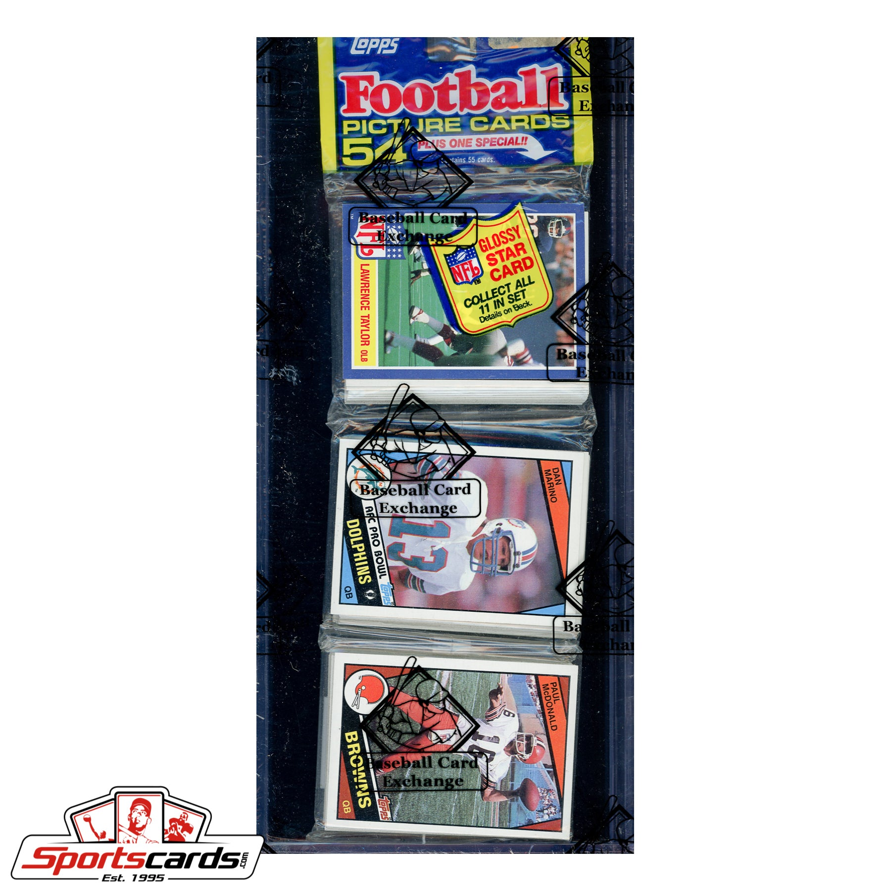 1984 Topps Football Rack Pack BBCE Certified w/ Dan Marino RC on Top!
