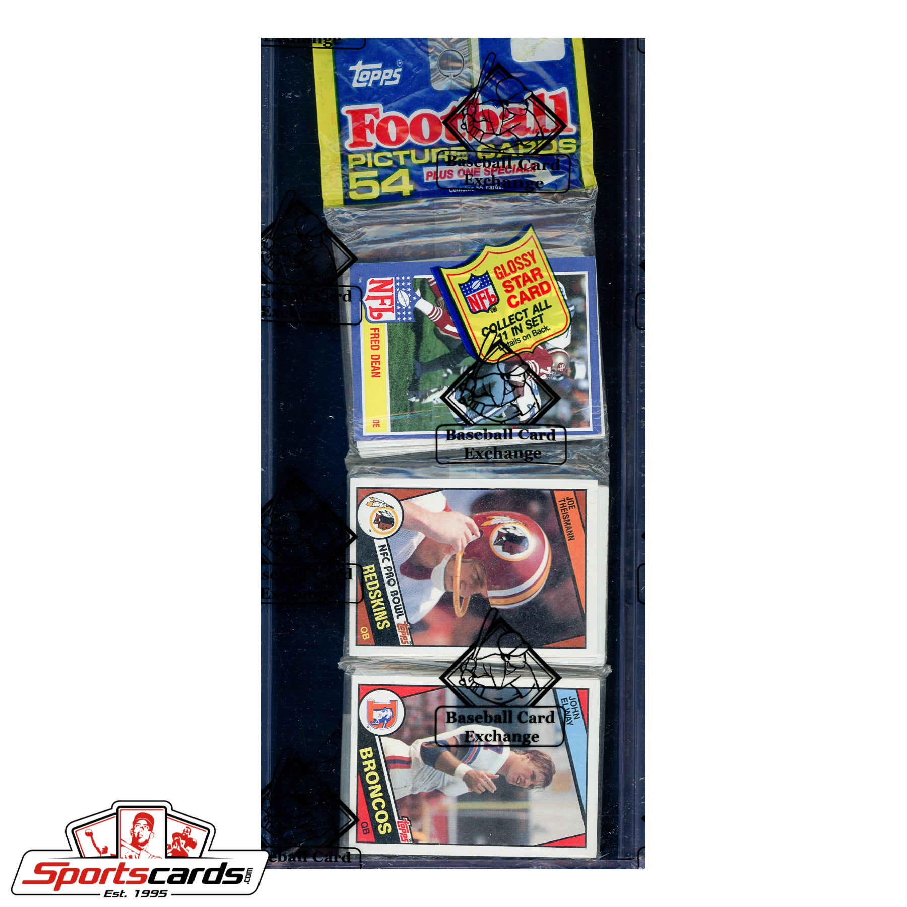 1984 Topps Football Rack Pack BBCE Certified w/ John Elway RC on Top!