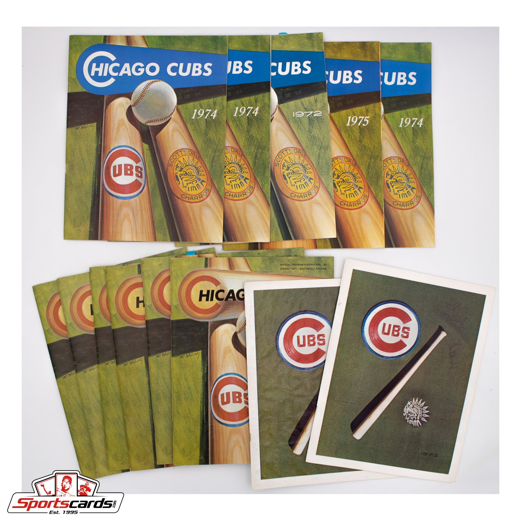 Collection of (13) 1970s Chicago Cubs Spring Training Programs