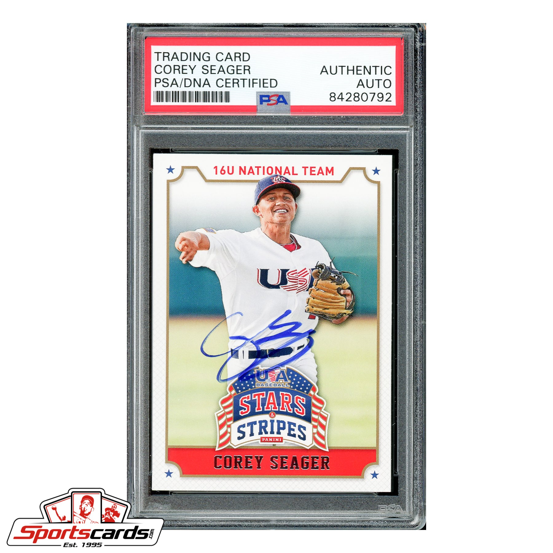 Corey Seager Signed Auto 2015 Panini USA Baseball Stars & Stripes #25 PSA/DNA