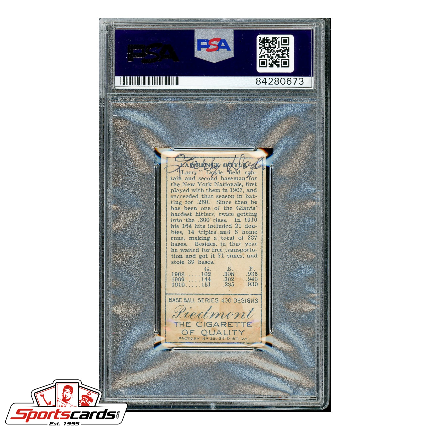Larry Doyle Signed Auto 1911 T205 Gold Border - PSA/DNA