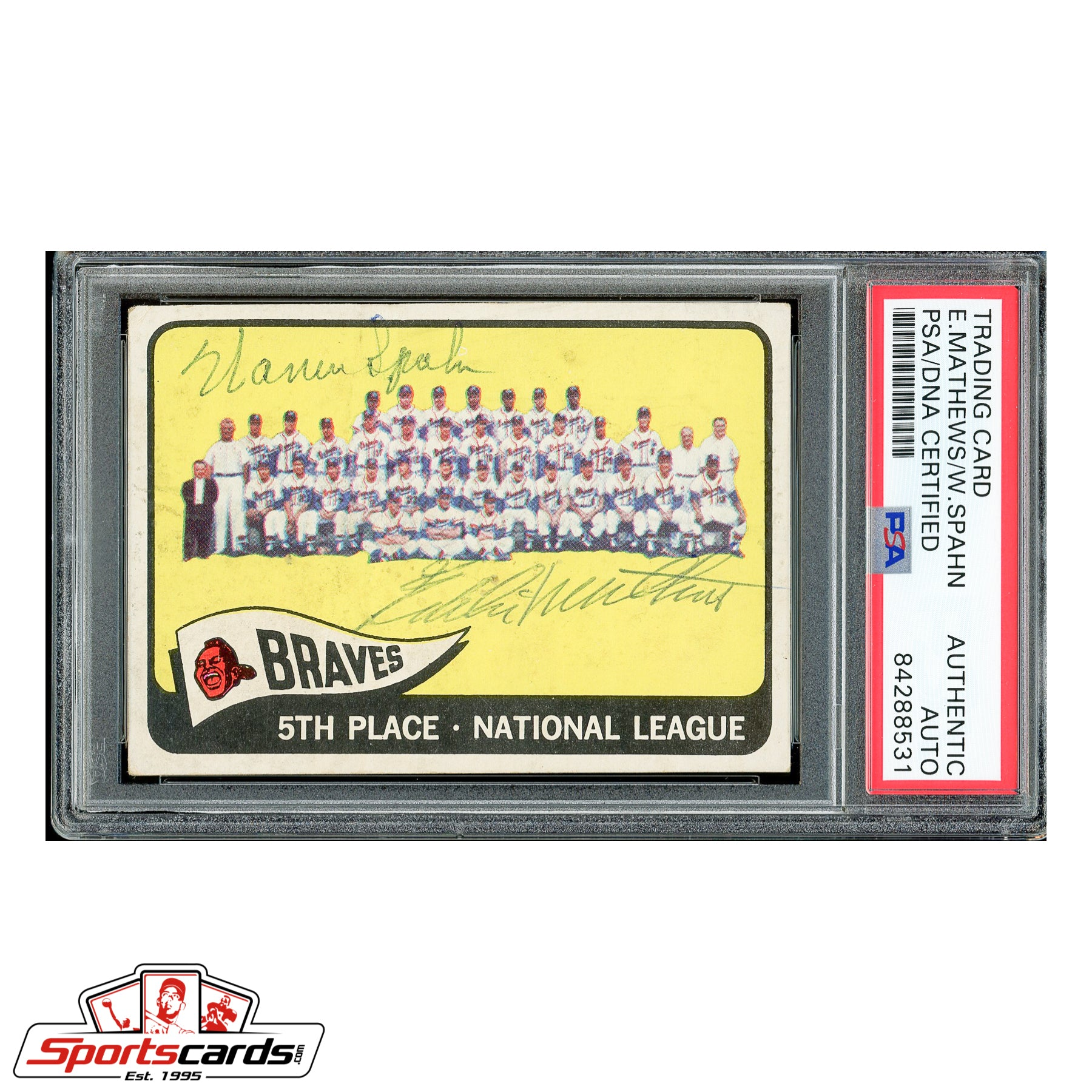 Eddie Mathews & Warren Spahn Signed Auto 1965 Topps Braves Team Card #426 - PSA/DNA