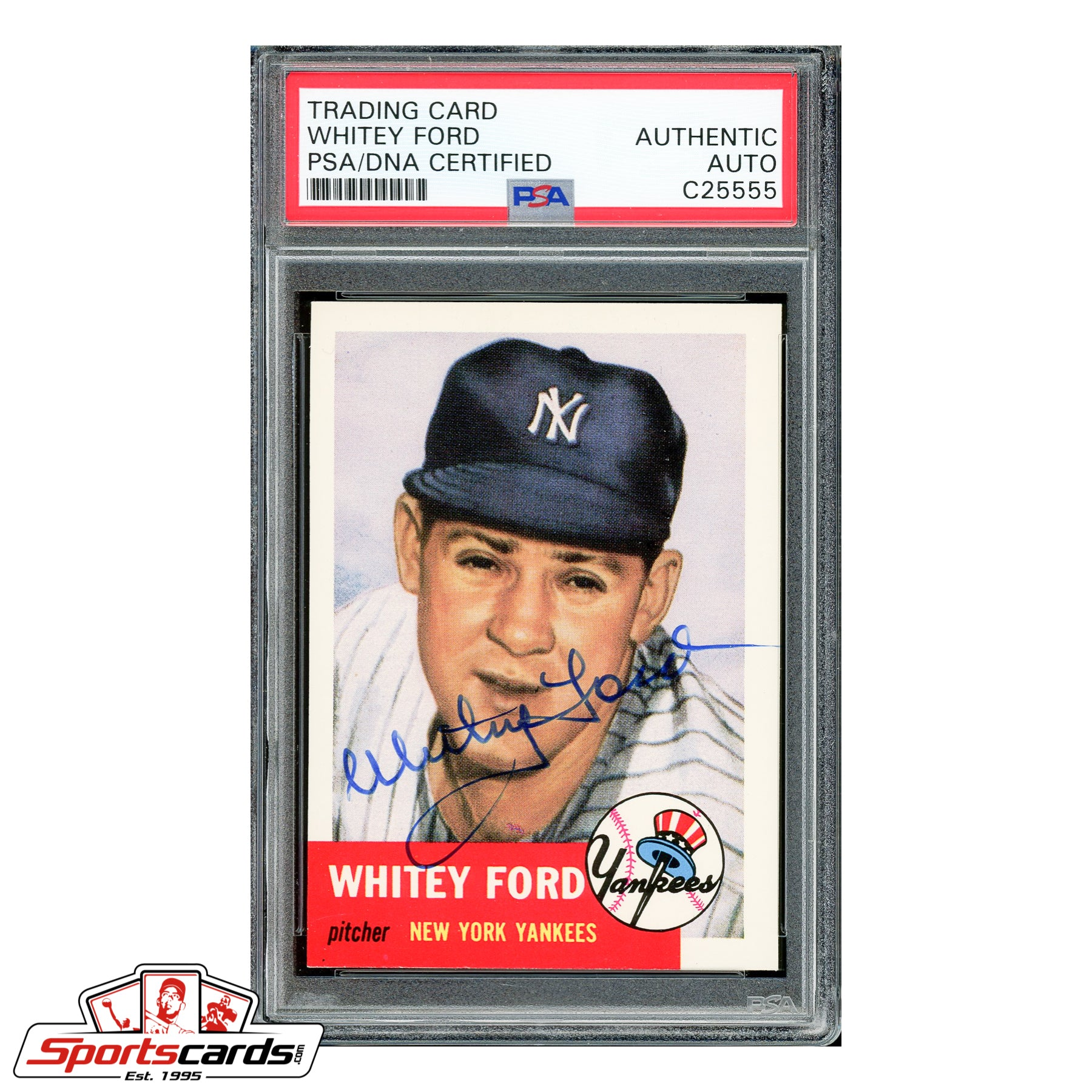 Whitey Ford Signed Auto 1953 Topps Archives #207 - PSA/DNA
