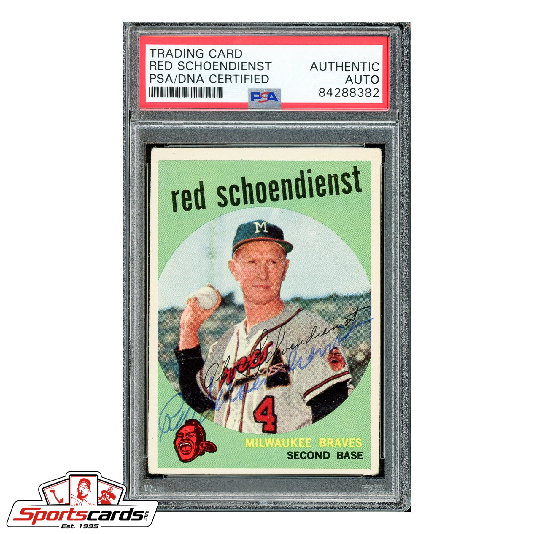 Red Schoendienst Signed Auto 1959 Topps #480 HOF  - PSA/DNA