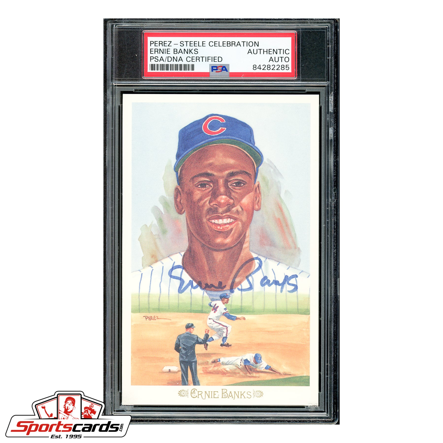 Ernie Banks Signed Auto Perez Steele Celebration Postcard - PSA/DNA