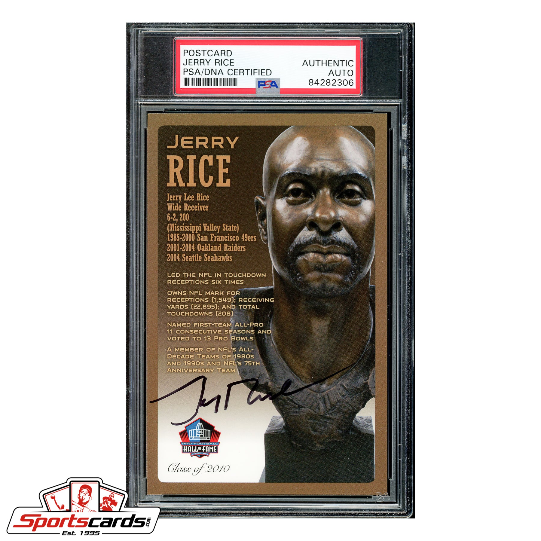Jerry Rice Signed Auto HOF Bronze Bust Postcard - PSA/DNA