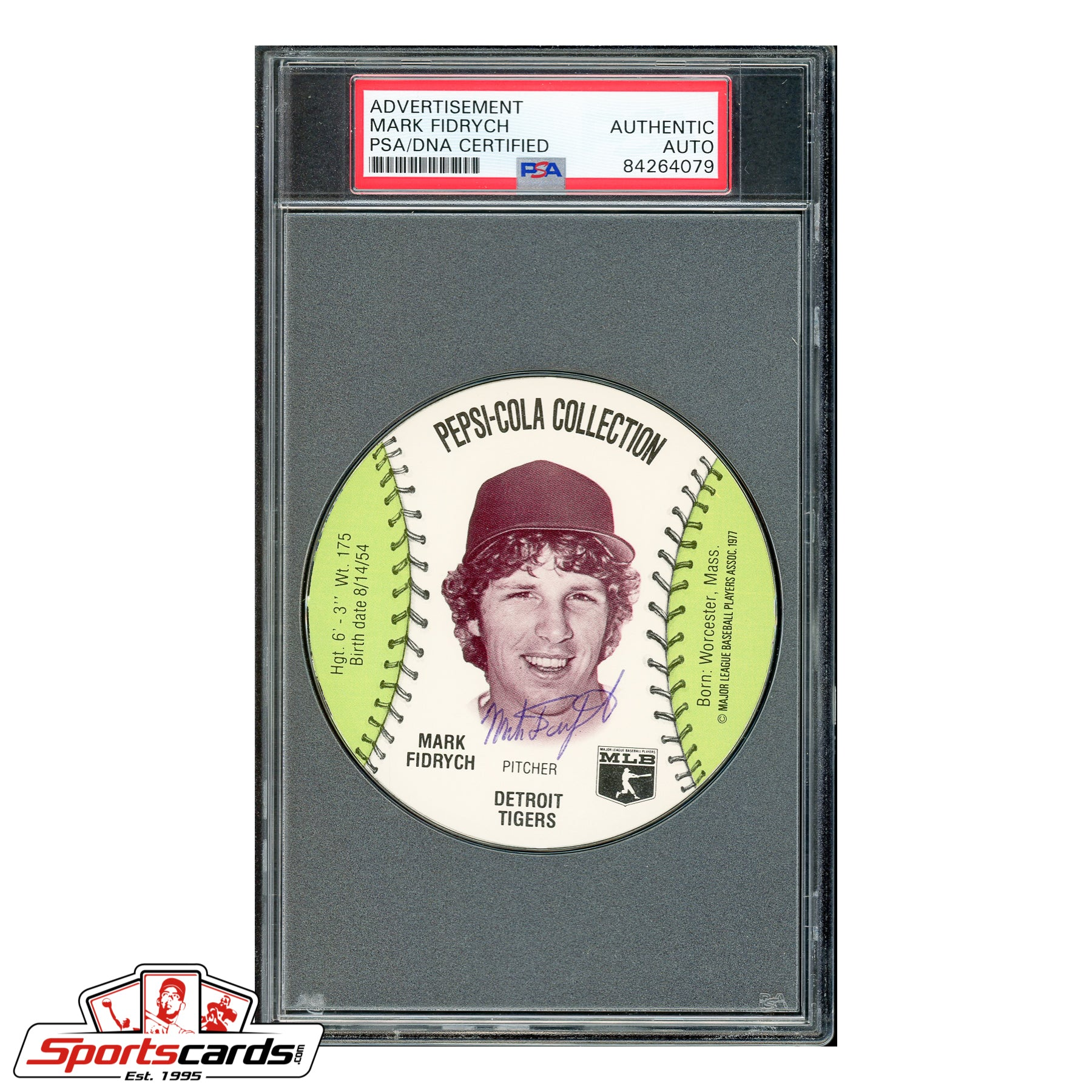 Mark Fidrych Signed Auto 1977 Pepsi Disc - PSA/DNA