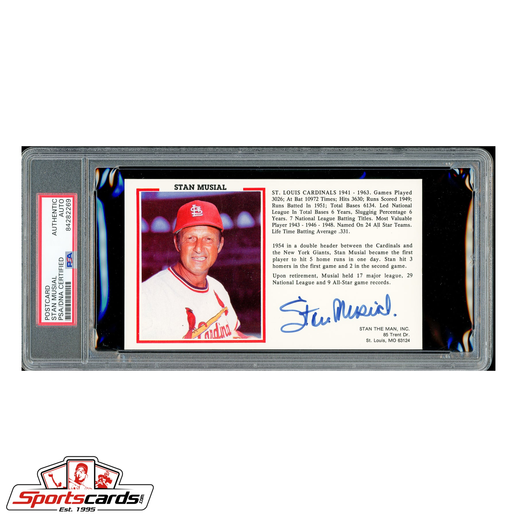 Stan Musial Signed Auto Career Highlights Postcard - PSA/DNA