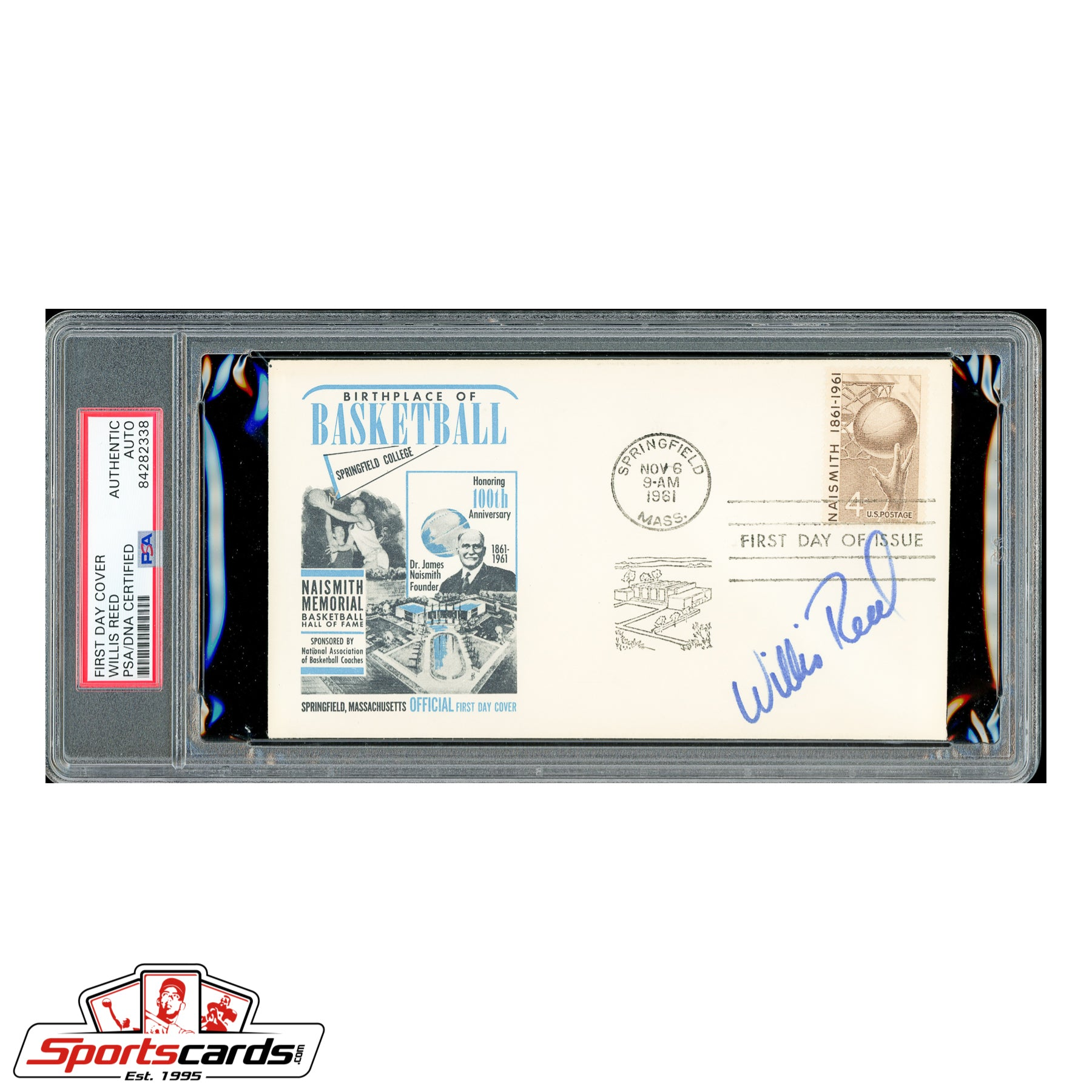 Willis Reed Signed Auto 1961 Naismith Basketball HOF FDC - PSA/DNA