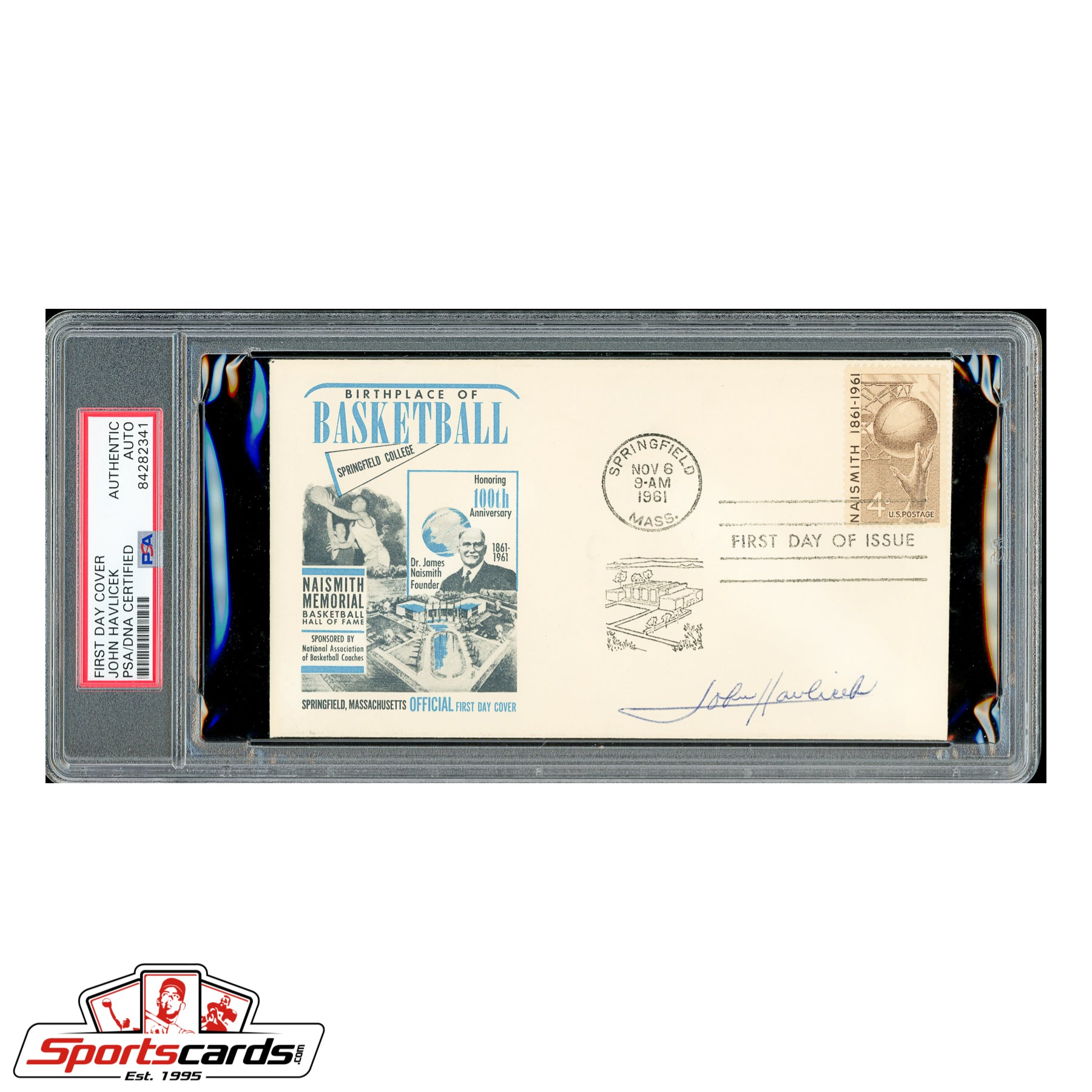 John Havlicek Signed Auto 1961 Naismith Basketball HOF FDC - PSA/DNA
