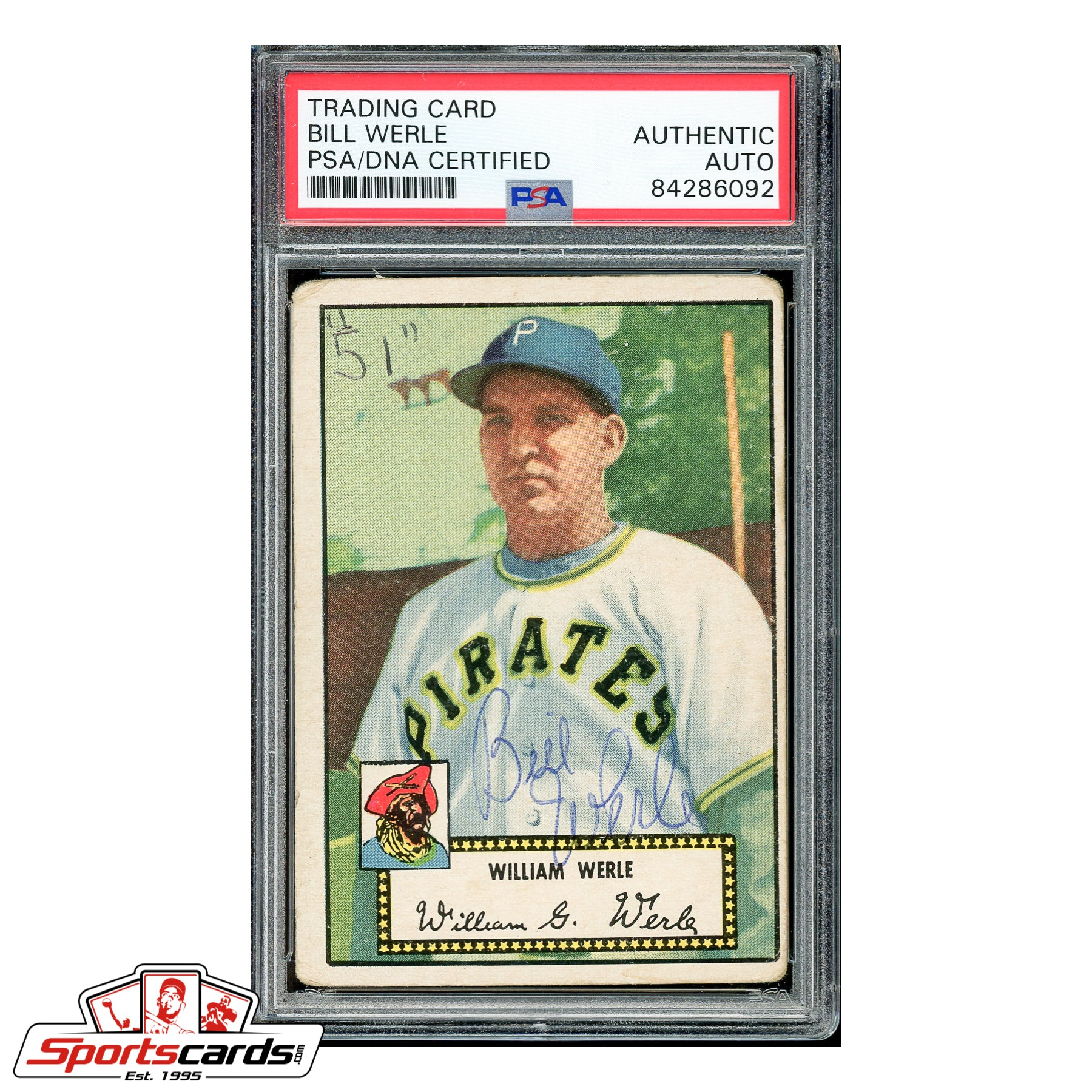 Bill Werle Signed Auto 1952 Topps Card #73 - PSA/DNA