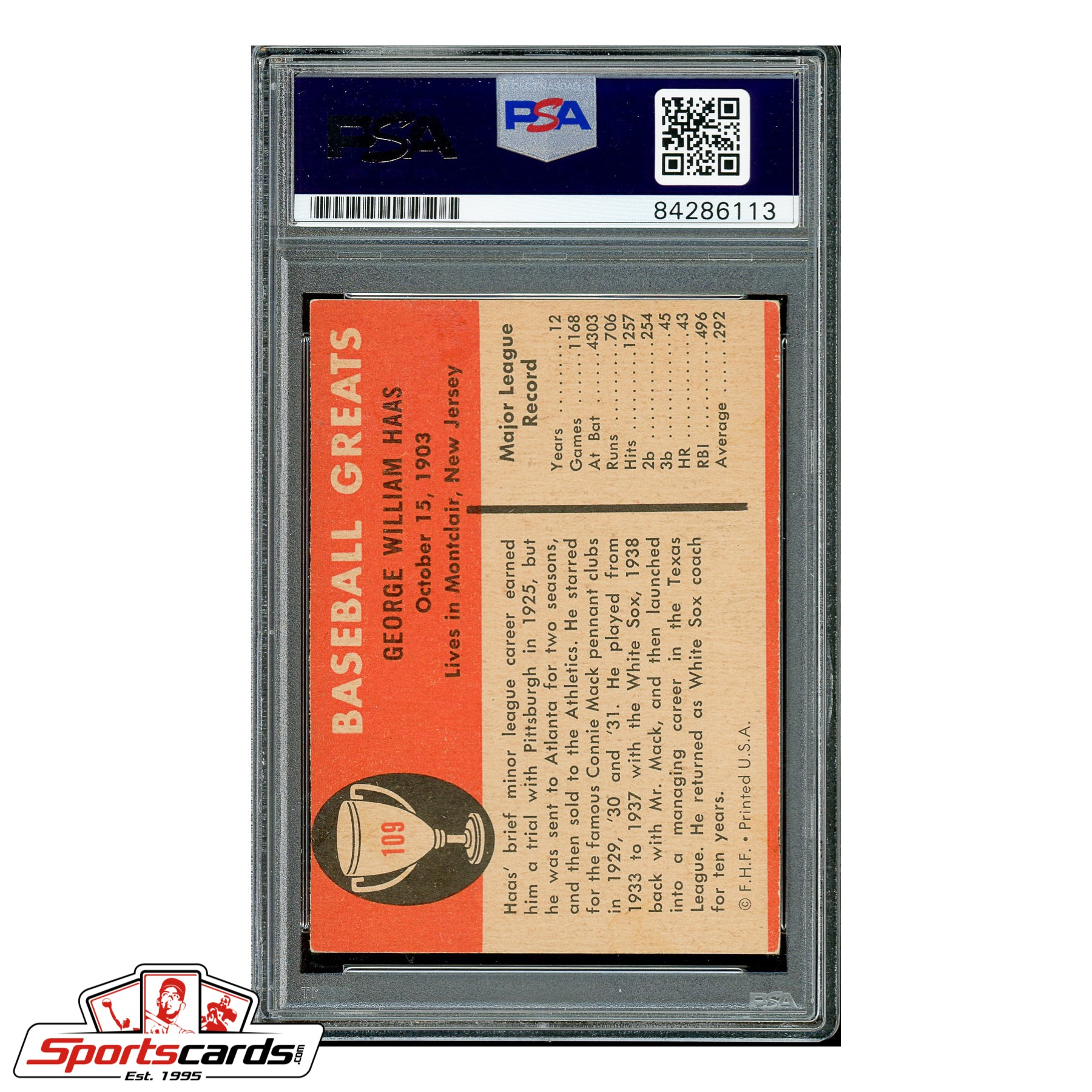 Mule Haas Signed Auto 1961 Fleer Card - PSA/DNA