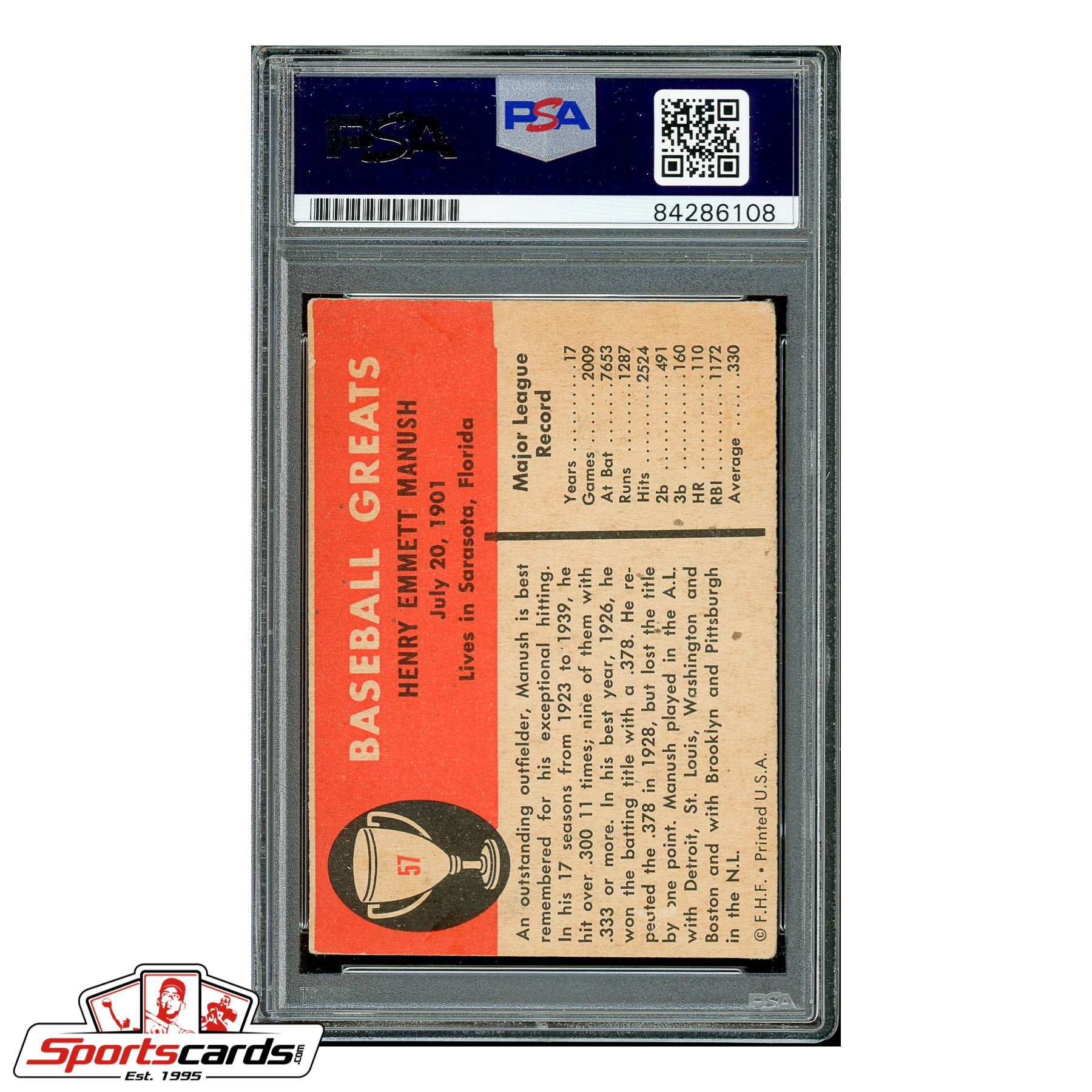 Heinie Manush Signed Auto 1961 Fleer Card - PSA/DNA