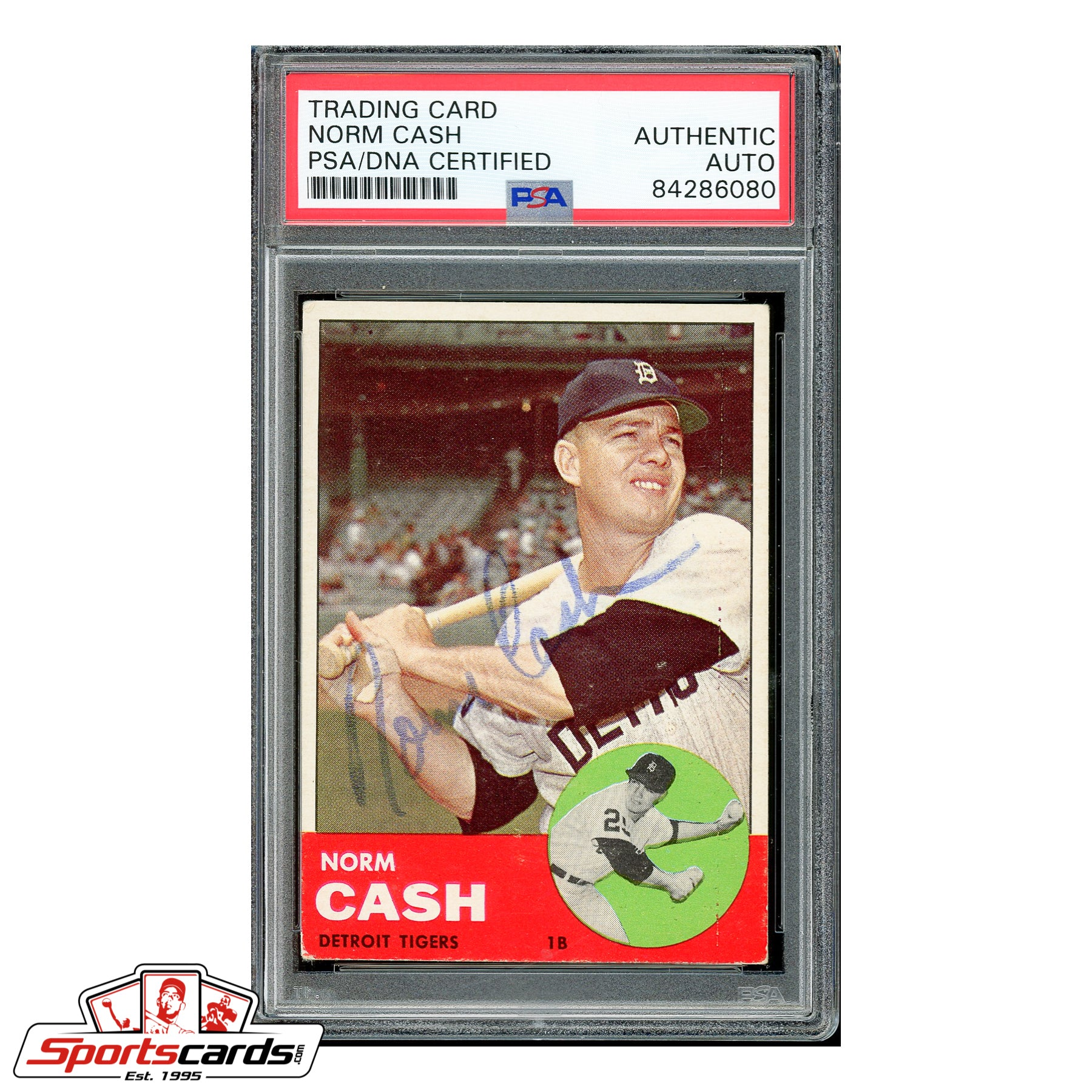 Norm Cash Signed Auto 1963 Topps Card #445 - PSA/DNA