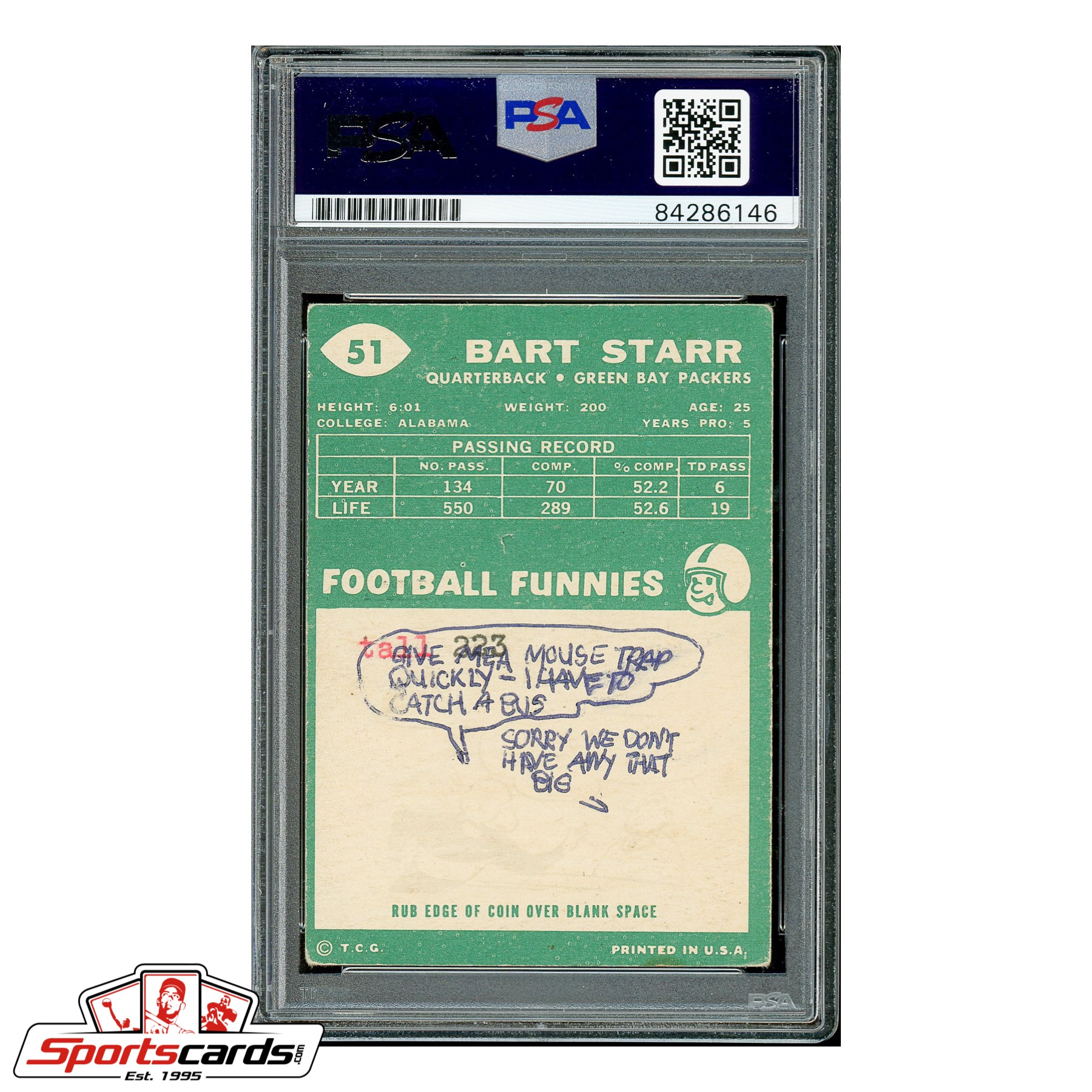Bart Star Signed Auto 1960 Topps #51 - PSA/DNA