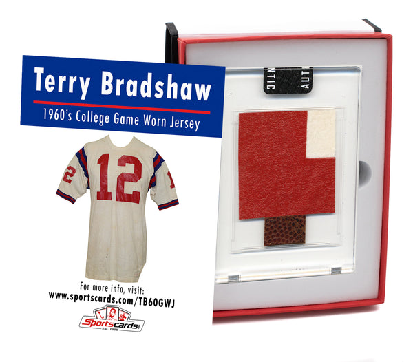 Terry Bradshaw Louisiana Tech College Game Worn Jersey Mystery Swatch Box